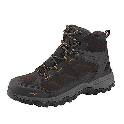 NORTIV 8 Men's Waterproof Hiking Boots Outdoor Mid Trekking Backpacking Mountaineering Shoes Brown Size 11 US JS19004M
