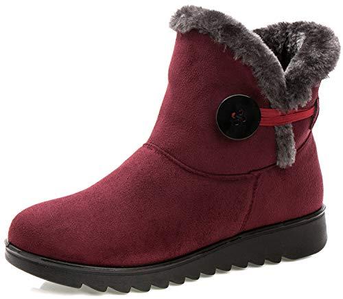 Stivali Donna Invernali Scarpe Stivaletti da Neve con Imbottitura Calda Stivali alla Caviglia Caldi Boots Scarpe Rosso -B 35 EU/225(35) CN