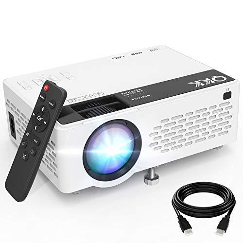 QKK V08 Proyector Full HD 1080P, Mini Proyector de 6000 Lúmenes, Proyector Portátil Compatible con Stick de TV HDMI VGA USB TF AV, Proyector de Video para Hogar Cine y Películas al Aire Libre