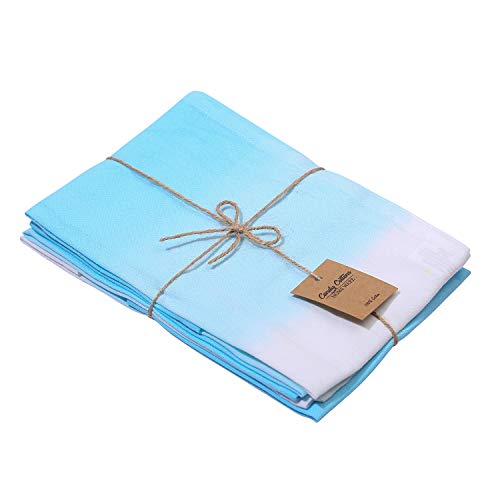 Candy Cottons 100% Cotton Dinner Napkins, Pack of 4-17'x17' Blue Dip Dyed, Water Coloured Style Dinner Table Napkins, Soft & Comfortable, Reusable Napkins for Home, Weddings & Cocktail Parties