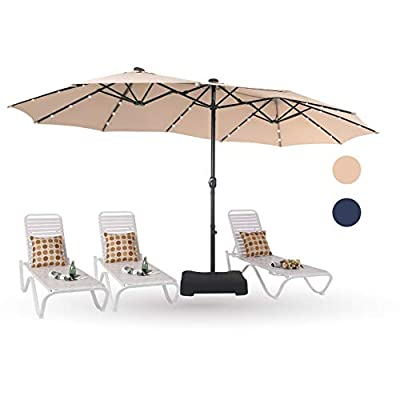 PHI VILLA 15ft Solar LED Large Patio Umbrella Double-Sided Outdoor Market Pool Lighted Umbrellas with 36 LED Lights, Umbrella Base (Stand) Included, Beige