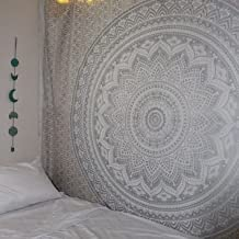 Bless International Indian Traditional Mandala Hippie Wall Hanging, Cotton Tapestry Ombre Bohemian Bedspread (Queen(84x90 Inches)(215x230 cm), Grey/Silver)