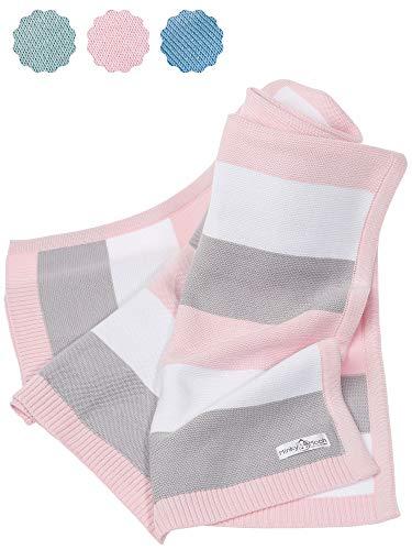 Babydecke aus 100% Bio Baumwolle - kuschelige Strickdecke ideal als Baby Decke, Erstlingsdecke, Wolldecke oder Baby Kuscheldecke in rosa/grau/weiß für Mädchen…