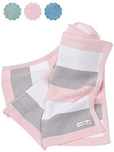 Manta de bebé hecha de 100% algodón orgánico - manta de punto ideal como manta de bebé, primera manta, manta de lana o manta de bebé en menta/blanco natural para niñas y niños.