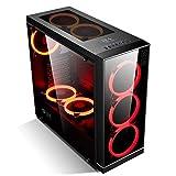 GOLDEN FIELD Z3 ATX/M-ATX/ITX Mid-Tower PC Gehäuse, Berühren Sie Frontplatte, mit Seitenfenster und 3 Rot LED-Lüftern für Desktop-PC