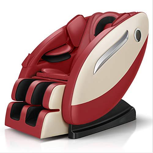 NCBH Sillón de Masaje 3D Sillón de Masaje de Gravedad Cero Airbag Completamente Envuelto con Cabeza y Cordones elásticos tailandeses Adecuado para el hogar y la Oficina,Rojo