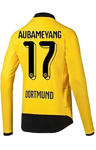 PUMA BVB Borussia Dortmund Home Trikot Langarm Herren 2016 - AUBAMEYANG 17, Größe:2XL