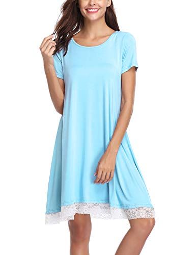 Aibrou Camisón Casual Mujer Algodón,Pijama Encaje Manga Corta Comodo y Elegante Ropa de Dormir...