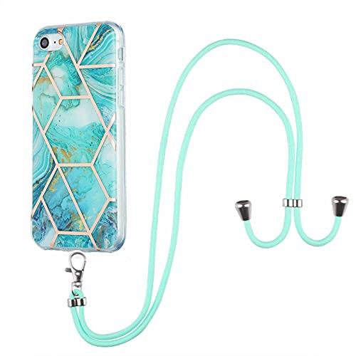 TYWZ Coque Collier pour iPhone Se 2020,Marbre Cover Coque Silicone avec Réglable Tour de Cou Chaîne Housse Etui de Protection-Bleu