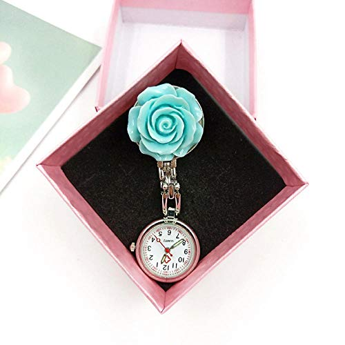 Cxypeng Taschenuhr Krankenschwestern Uhr,Blumen-kreative Krankenschwester-Uhr, Quarz-Digital-Taschenuhr-Geschenkbox-Blau + Geschenkbox,Krankenschwesteruhr/Pulsuhr