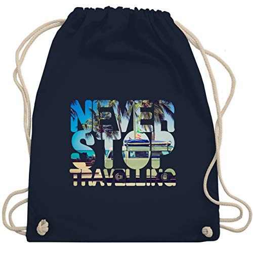 Statement - Never Stop Travelling Meer Palmen - Unisize - Navy Blau - glücklich - WM110 - Turnbeutel und Stoffbeutel aus Baumwolle