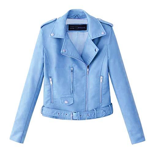 TMOTYE Damen Jacke Niet Reißverschluss Langarm Lederjacke Kunstleder Jacke Lässige Bikerjacke Sakko Jackett Superweiche Asymmetrischem Reißverschluss (Blau,XL)