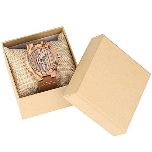 CAIDAI&YL Hot New Brown Wood Lady Relojes Diseño único Reloj de Madera de Cuero para Mujer con Esfera, marrón con Caja