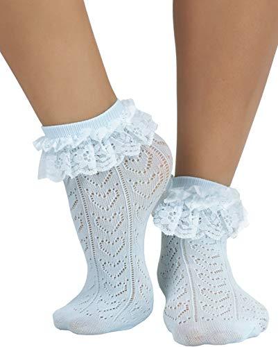 ToBeInStyle Women's Indie Girl Ruffle Trim Heart Net Design Ankle High Fashion Socks - Babyblue