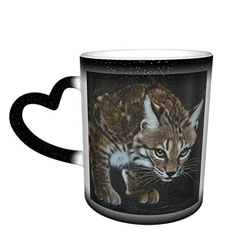 Lynx Painting Starry Sky Taza que cambia de color, Taza de cerámica de café mágico que cambia de color, Un regalo novedoso e interesante, Un regalo para el día de San Valentín, 11 oz