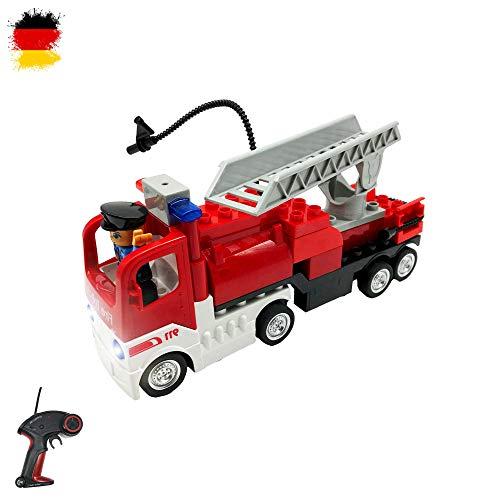 Himoto HSP RC Ferngesteuerter Feuerwehrwagen aus Bausteinen mit Fernbedienung, Auto, Steckbausatz Konstruktion DIY, Komplett-Set mit Ladegerät und integriertem Akku