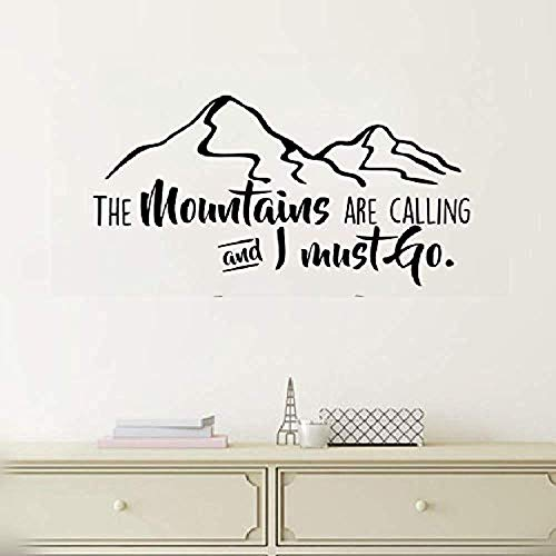 Wall Vinyl Decal Baby The Mountains are Calling and I Must Go Inspirational for Bedroom Vinyl Decor Sticker Home Art Print BR7796