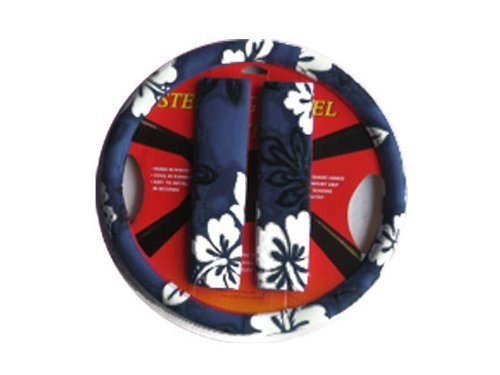 Hawaiian Steering Wheel Cover and Shoulder Pad - Blue Hawaii Hibiscus Floral Print