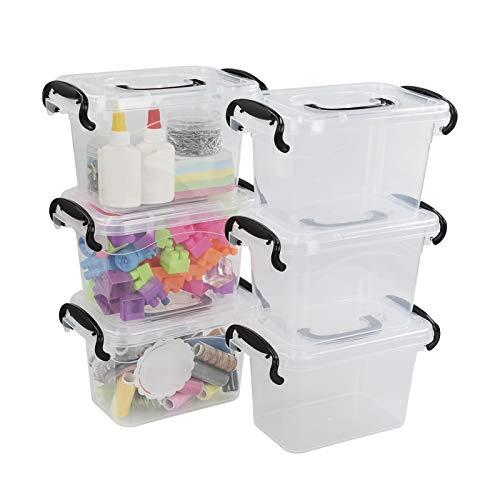 Bringer Juego de 6 mini cajas de almacenamiento de plástico, caja de cierre pequeña transparente de 1,5 l