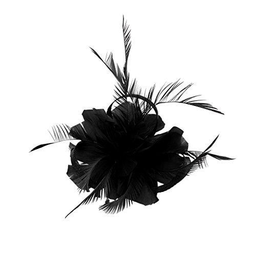 HomeDecTime Rétro Femme Plume Fascinator 20 S Mariage église Ascor Courses Pince à Cheveux - Noir