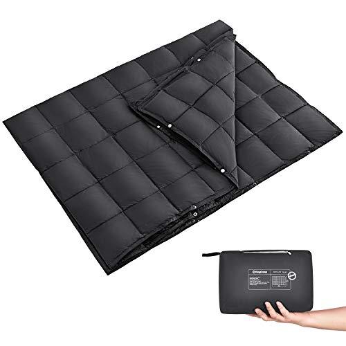 KingCamp Ultraleicht Reisedecke Outdoor Decke Wasserabweisend Kompakt für Camping Picknick Reisen, 200 × 144 cm, Schwarz