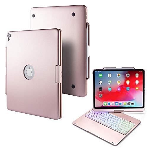 HNKHKJ para iPad Pro 2018 Funda de Teclado de 12.9 Pulgadas Funda deSoporte deCarcasa Dura Ultra Delgadacon Teclado inalámbrico Bluetooth retroiluminado Multicolor-Rose_Red