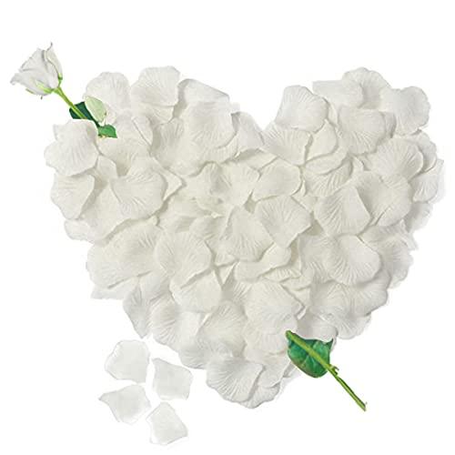 3000 Pétalos de Rosa Artificiales Blanco de Seda, Decoración Romantica para el Día de San Valentín Bodas Nupcial Aniversario y Compromiso