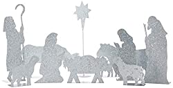 commercial Cathy galvanized metal stand set, crib, primitive with 10 pieces metal nativity set