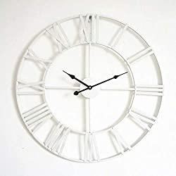 24 Inches Large Wall Clock, Non-Ticking Silent Quartz Decorative Clocks, Battery Operated, Round Retro Indoor Kitchen Bedroom Living Room Wall Clocks£¨White