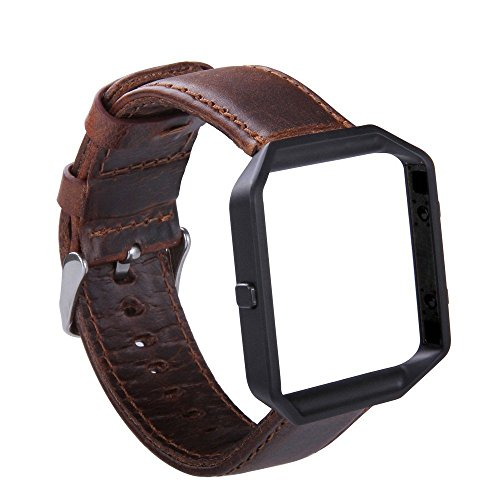 KADES Genuine Leather Retro Cowhide Bands with Stainless Steel Frame Compatible for Fitbit Blaze Smart Watch, Coffee Band+Black Frame(Silver Clasp)- Large