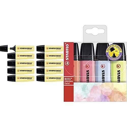 STABILO Marcador ORIGINAL pastel Caja con 10 unidades Color amarillo cremoso + Marcador ORIGINAL pastel Estuche con 4 colores pastel (rojo coral, rosa cerezo, azul nube, lima)