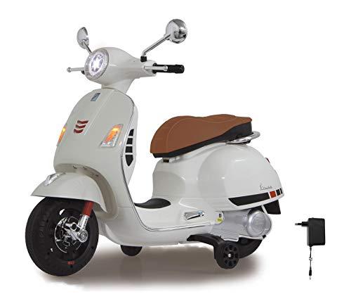 Jamara 460346 - Ride-on Vespa Blanco 12V 500 mA – Batería Potente, Motor Potente, Faro LED, SD, AUX, USB, Ruedas de Apoyo, Ruedas Ultragrip