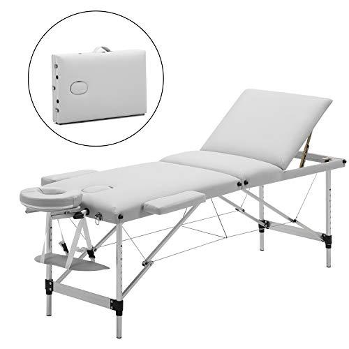 Meerveil mobile Massageliege klappbare Therapieliege tragbares Massagebett leichter Massagetisch 3 Zonen mit höhenverstellbaren Aluminiumfüße, Weiß