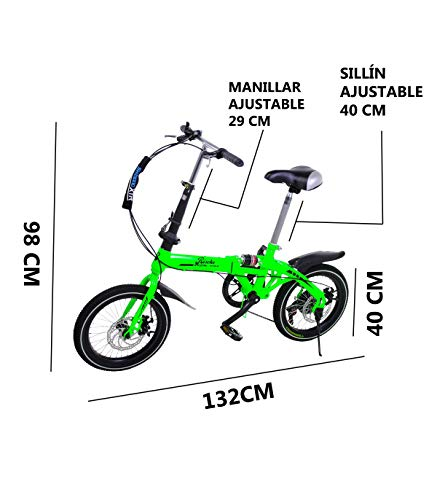 Riscko Super Bike Bicicleta Plegable Unisex de 16''