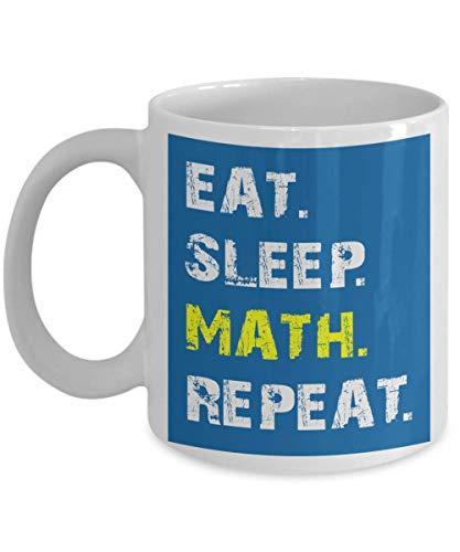 Tazza matematica - Tazze caffè Divertente matematica - Mangia sonno Ripeti matematica - Regali professore di matematica - Regali matematici per donna, uomo, adolescenti - Tazza da caffè in ceramica bi