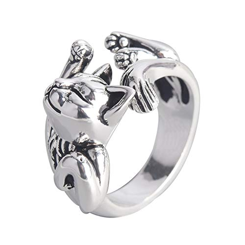 letaowl Anillo abierto para mujer retro neutral sueño gato abierto dedo anillo regalo único moda animal punk anillo para hombres mujeres dedo ajustable joyería