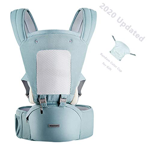 YIYUNBEBE 3-in-1 Baby Carrier with Hip Seat, Baby Sling Ergonomic Soft Breathable, Baby Carrier Wrap for Outdoor Traveling (NewGreen)