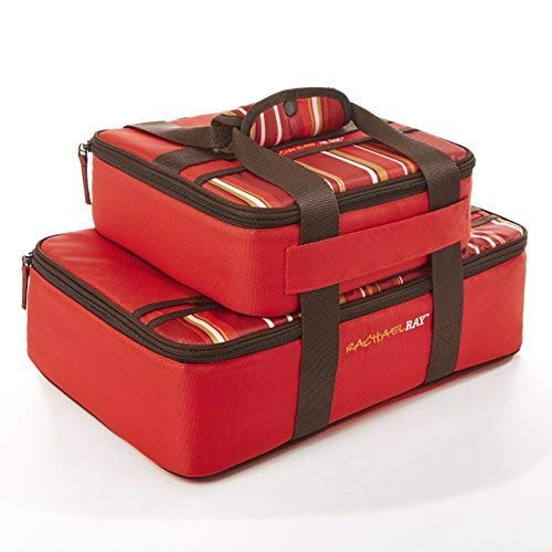 Rachael Ray Lasagna Lugger Combo Casserole Carrier set, 13X9, 9X9, Red Stripe