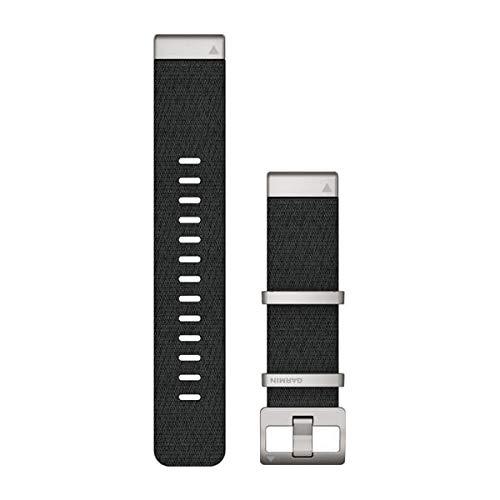 Garmin Correa de reloj Quickfit, brazalete de titanio gris carbón ventilado, correa de nailon Jacquardweave – negro, 22 mm (010-12738-21)
