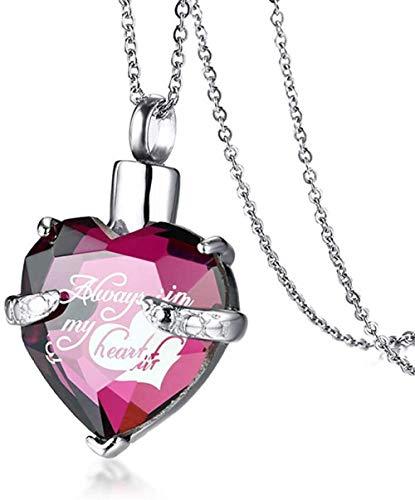 Cremación Collar Collar Señoras Cristal Corazón Hueso Cenizas Cremadas Collar Colgante Señoras Recuerdo Recuerdo Joyería Usted Urna Cenizas Colgante Memorial