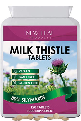 Milk Thistle Tablets - 80% Silymarin High Strength - 4 Months One A Day Milk Thistle Supplements - Vegan, GMO-Free, Gluten-Free, Made in The UK, Food Supplement (120 Tablets)
