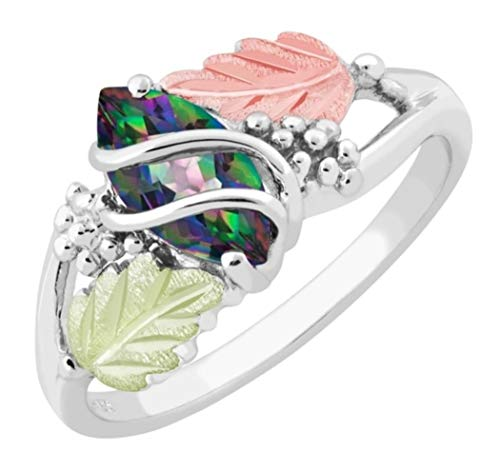 Marquise Mystic Fire Topaz Double Wrap Ring, Sterling Silver, 12k Green and...
