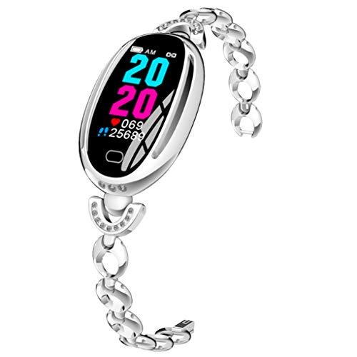 Fitness Tracker Smart Sieraden Activiteit Tracker Hartslag Sfygmomanometer Polsband Bluetooth Calorie Counter Sport Horloge Stappenteller Smart Armband Voor Android Ios ZILVER