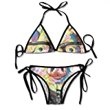 Sexy Triangle Bathing Two Pieces Cute Colorful Animal Smart Potter Pig Women's Girl Tie Side Bottom Triangle Printing Bikini Set Swimsuits Beachwear for Beach Women