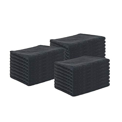 Arkwright Microfiber Bleach Safe Salon Towels Pack of 24 (16 x 27 inch, Black)