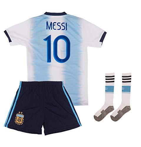 ATB Argentinien 2019/2020#10 Messi Heim Kinder Fußball Trikot und Shorts mit Socken Kinder und Jugend Größe