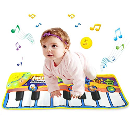 Musical Piano Mat-Giant Early Education Kindergarten Toys,Music Floor Keyboard Foot Touch Play Carpet with Multi Animal and Music mode,Adjustable Vol,Best Toddler Keyboard Gift For Boys & Girls