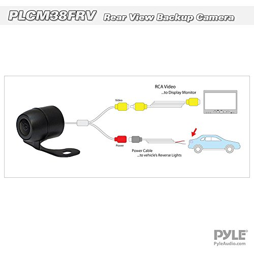 Universal Mount Front Rear Camera - Marine Grade Waterproof Built-in Distance Scale Lines Backup Parking/Reverse Assist Cam w/ Night Vision LED Lights 420 TVL Resolution & RCA Output - Pyle PLCM38FRV,Black