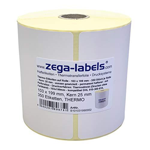 Thermo Etiketten auf Rolle - 103 x 199 mm - 350 Stück je Rolle - Kern: 25 mm - für Versandetiketten DHL - permanent haftend - mit Perforation - Druckverfahren: Thermodirekt (Drucken ohne Farbband)