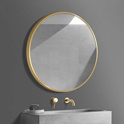 WGX Design For You Rustic Round Metal Framed Wall Mirror Solid Construction -
